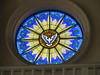 SAN SALVADOR, EL SALVADOR - One of the magnificant stained glass windows at the Metropolitan Cathedral.