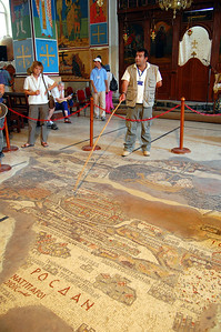 "MADABA - Madaba is called the ""city of the mosaic.""  Hundreds of mosaics can be found in the old buildings around town.  But one stands out: the Mosaic Map of Palestine, inside the St. George Church.  It depicts the oldest known map of the Holy Land."